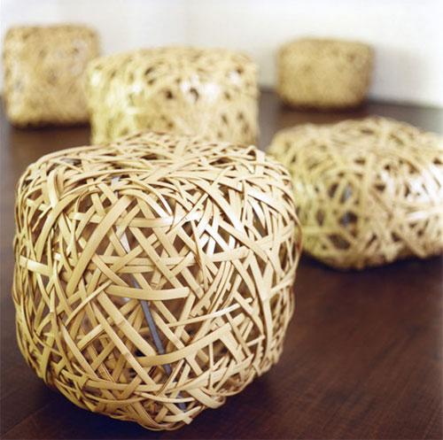bancobambu 01 Banquinho em tiras de bambu