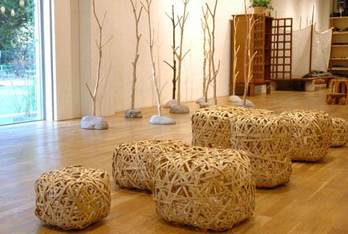 bancobambu 03 Banquinho em tiras de bambu