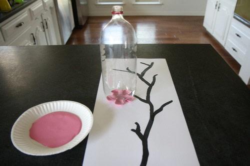 quadro cerejeira 02 Quadro de cerejeira com garrafa pet
