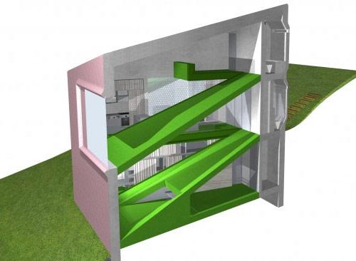 9420728 4932035d43 o Casa em declive de três andares acompanha a topografia