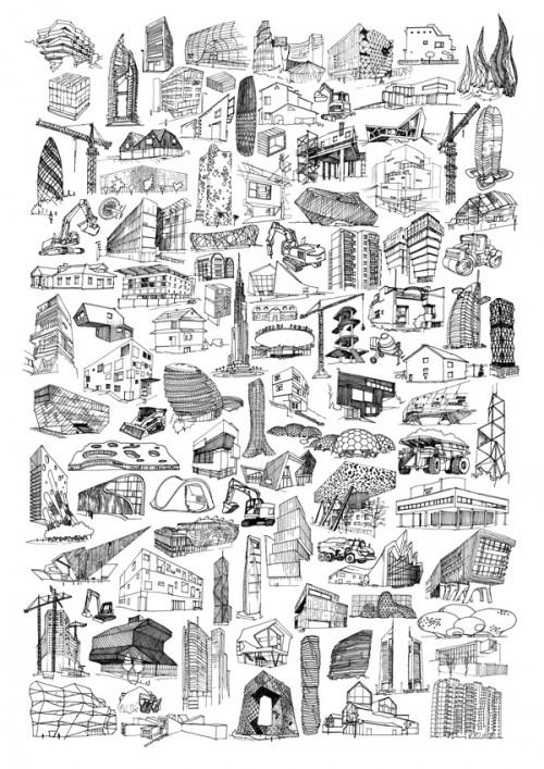 arquitetura seculo 21 01 500x707 Pôster com 100 desenhos da arquitetura do séc. XXI