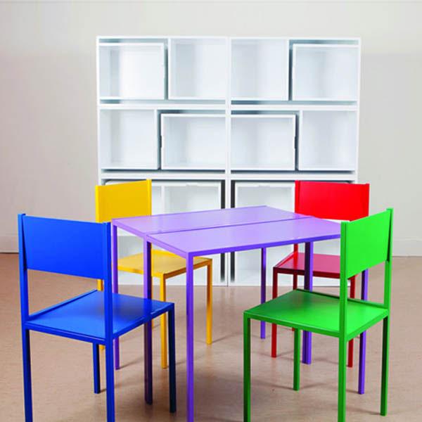 estante mesa embutida 04 Estante com mesa e cadeiras embutidas