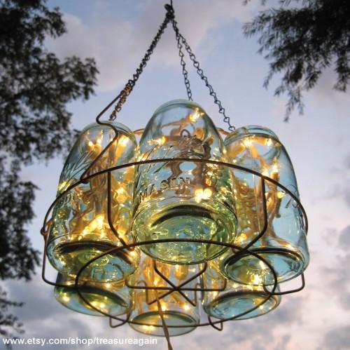 chandelier potes vidros reciclados 02 500x499 Chandelier com potes de vidros